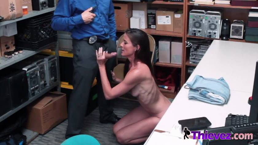 Sexy Thief in Back Office Sucking Rigid Dick on Knees